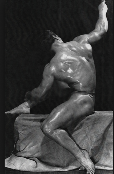 John Grimek Bodybuilder Twisting Seated Back Pose
