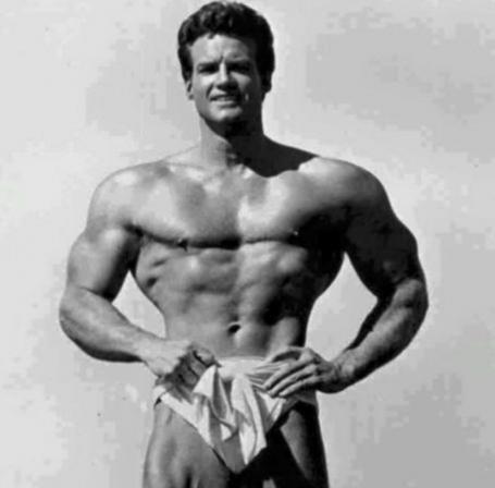 Steve Reeves Standing Bodybuilding Pose Wide Clavicles Shoulders